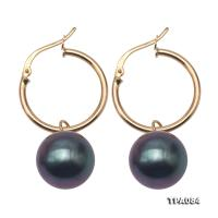 Gorgeous 12mm Black Tahitian Pearl Earring with 14k Gold TPA084