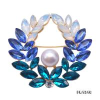 Delicate Zircon-inlaid 10mm Freshwater Pearl Brooch FB1310