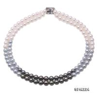 Luxurious Natural 8.5-9.5mm White Gray Round Akoya Seawater Pearl & Black Tahitian Pearl Necklace SPN224