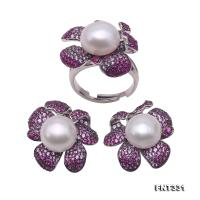 Exquisite 12mm White Pearl Earrings & Ring Set in Sterling Silver FNT331