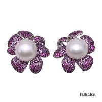 Exquisite 12mm White Pearl Earrings in 925 Sterling Silver FES453