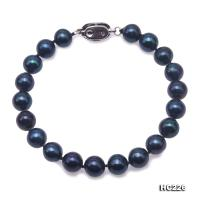 Beautiful 7.5-8.5mm Black Freshwater Pearl Necklace Bracelet HC226