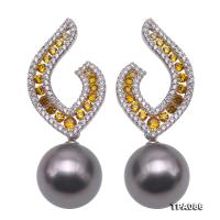 Stunning 12.5-13mm Natural Black Tahitian Pearl Earrings in Sterling Silver TPA086
