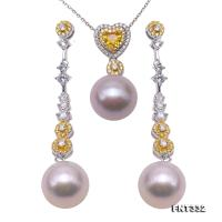 Exquisite 12.5mm White Pearl Earrings & Pendant Set in Sterling Silver FNT332