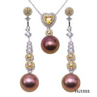 Exquisite 11-12mm Lavender Pearl Earrings & Pendant Set in Sterling Silver FNT333