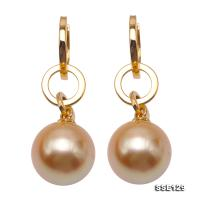 Luxurious 14mm Golden South Sea Pearl Stud Earrings in 18K Gold SSE129