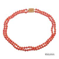 Beautiful Double-Strand 6mm Pink Carved Coral Necklace CNB064