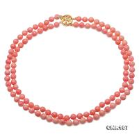 Beautiful Double-Strand 7.5mm Pink Coral Necklace CNR107