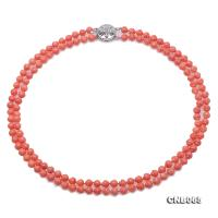 Beautiful Double-Strand 6mm Pink Carved Coral Necklace CNB065