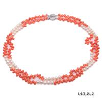 Sweet Double-Strand 5x7mm Pink Coral Necklace with White Pearl CNB066