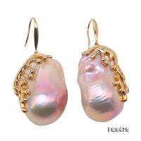 Incredibly Huge 21x35mm Top-grade Baroque Freshwater Pearl Earrings in 18k Gold FES475