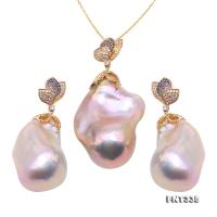 Huge Size Top-grade Baroque Freshwater Pearl Earrings & Pendant in 18k Gold FNT335