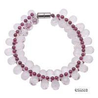 Natural Garnet & Rock Crystal Bracelet GH003