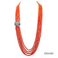 Long 5.5-6mm Multi-strands Round Coral Necklace  CNR109