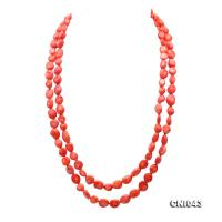 New 9-10mm Long Irregular Orange Coral Necklace CNI043
