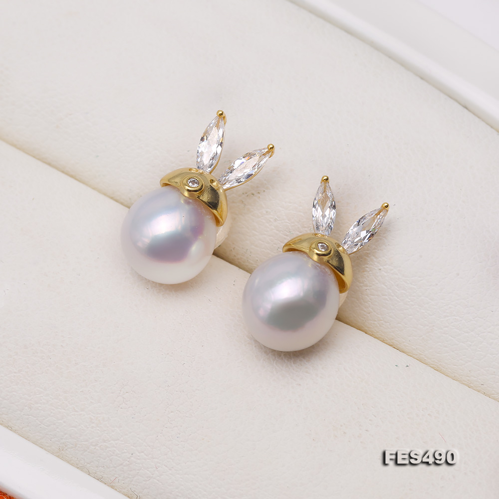 Exquisite 8mm Near Round White Freshwater Pearl Stud Earrings big Image 3