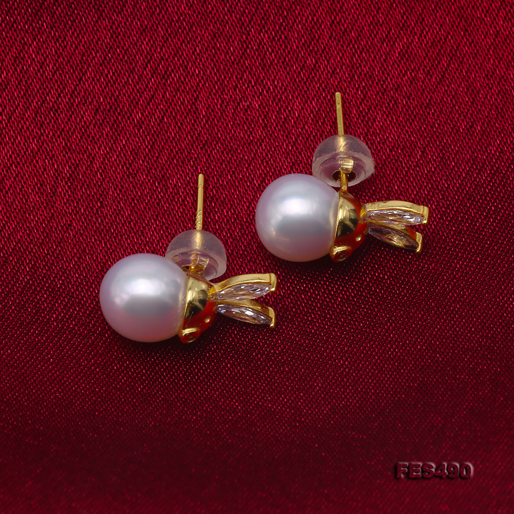 Exquisite 8mm Near Round White Freshwater Pearl Stud Earrings big Image 5
