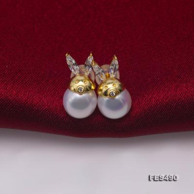 Exquisite 8mm Near Round White Freshwater Pearl Stud Earrings FES490 Image 4