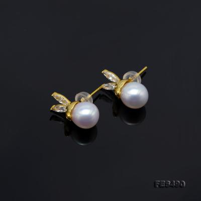 Exquisite 8mm Near Round White Freshwater Pearl Stud Earrings FES490 Image 6