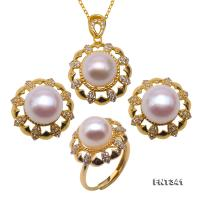Exquisite 10-10.5mm White Pearl Pendant Earrings and Rings for Women FNT341
