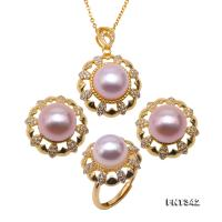 Luxurious 10-10.5mm Lavender Freshwater Pearl Pendant Necklace Earrings and Rings FNT342