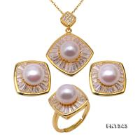 Gorgeous 9-9.5mm White Freshwater Cultured Pearl Pendant Earrings Ring Set FNT343